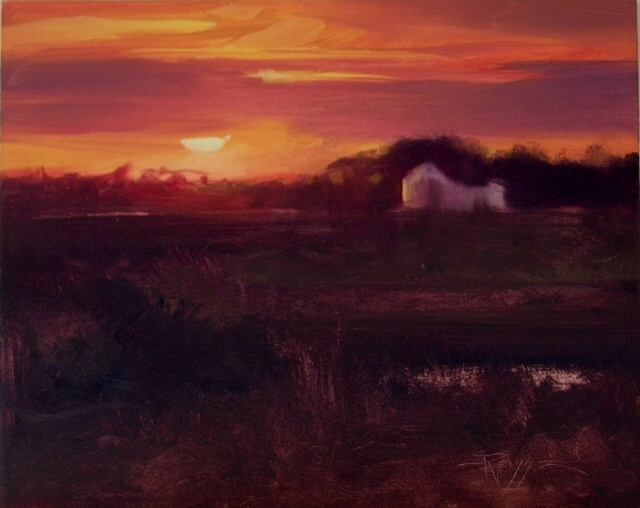 """Close of Day  on the Trans Canadian Highway."" original fine art by Robin Weiss"