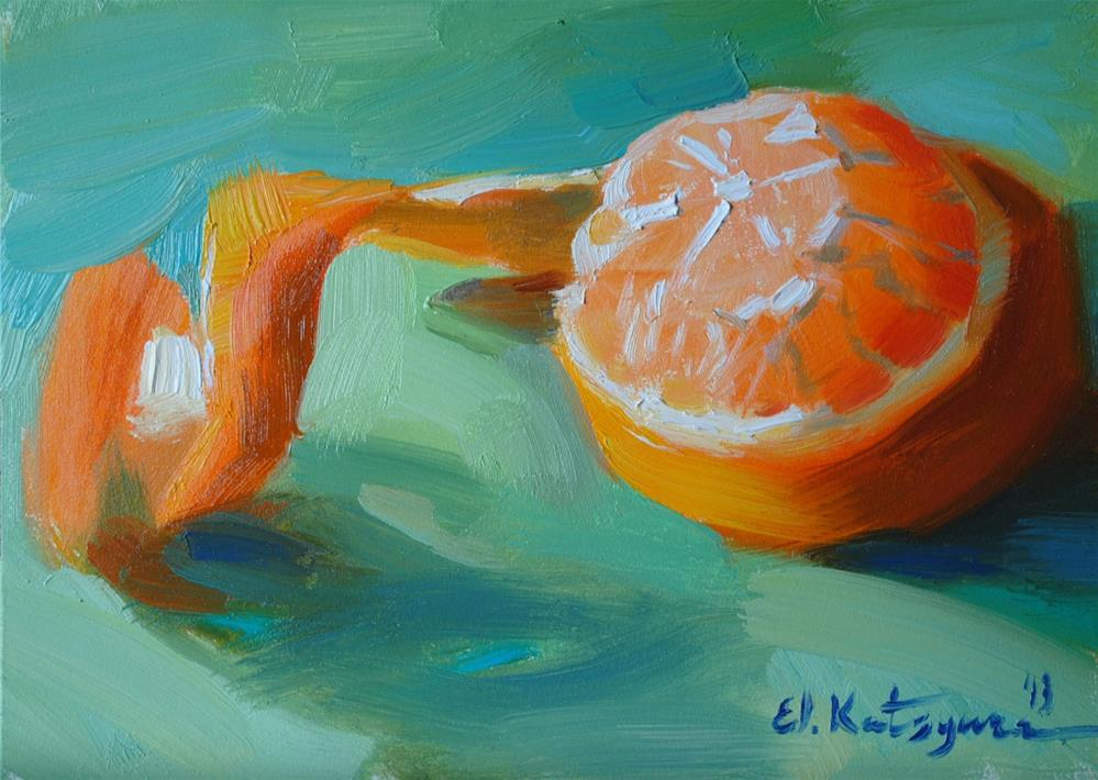 """Peeled Mandarin"" original fine art by Elena Katsyura"