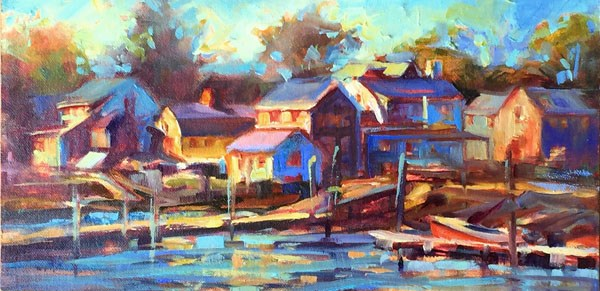 """Dusk, Portsmouth"" original fine art by Karen Bruson"