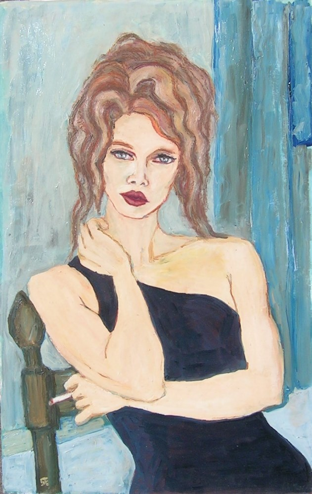 """Black Dress"" original fine art by Stanley Epperson"