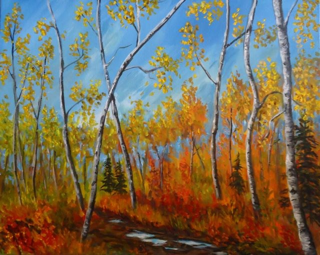 """Aspens On The Lane"" original fine art by Jackie Irvine"