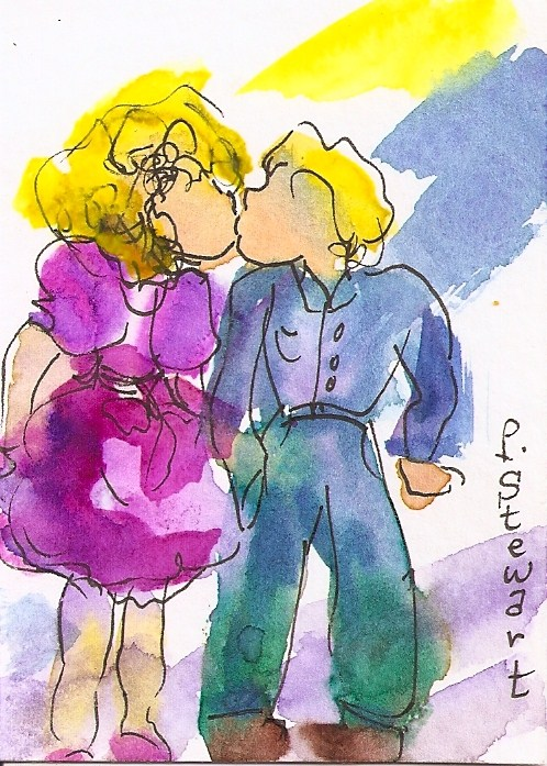 """ACEO Watercolor and Pen, First Kiss Love is in the Air"" original fine art by Penny Lee StewArt"