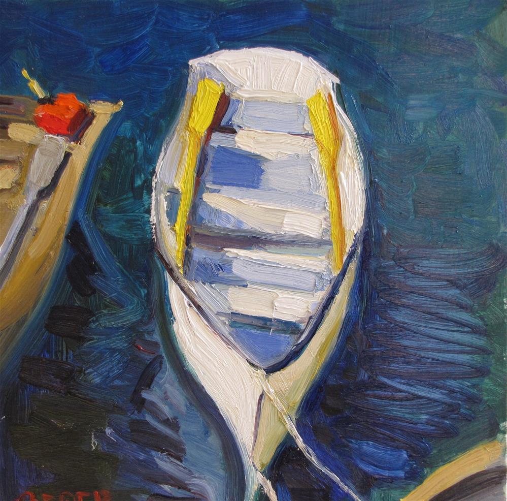 """""""White Boat Yellow Oars"""" original fine art by Rita Brace"""