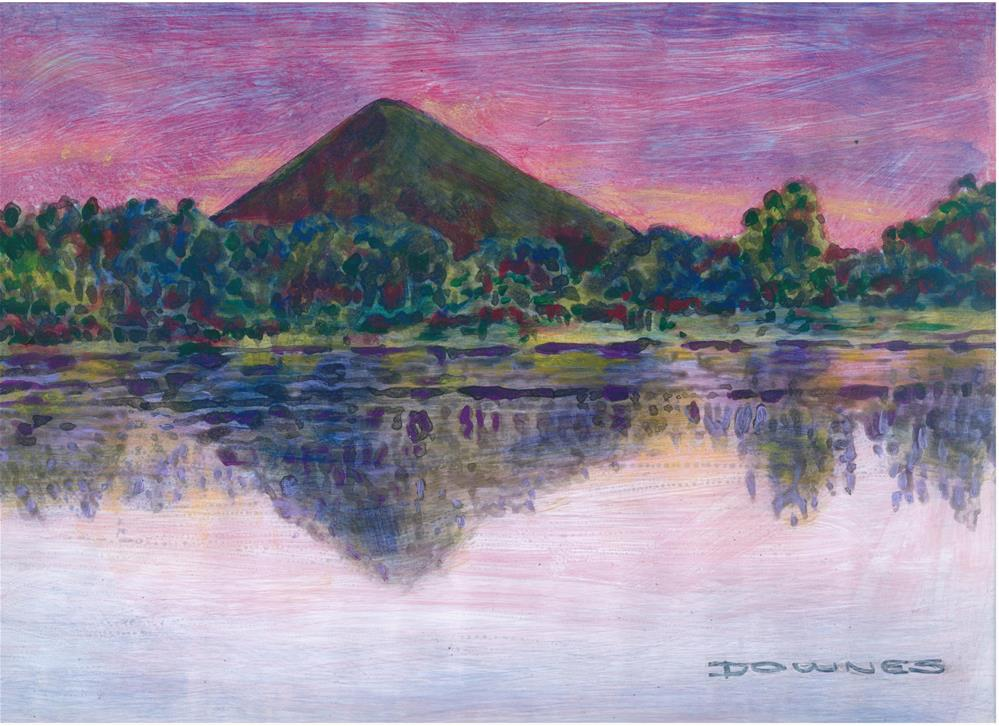 """098 GLASSHOUSE MOUNTAINS 2"" original fine art by Trevor Downes"