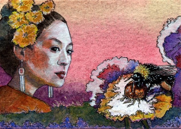 """Pen & Ink: Bumble Bee Geisha (& video equipment for youtube tutorials)"" original fine art by Belinda Del Pesco"