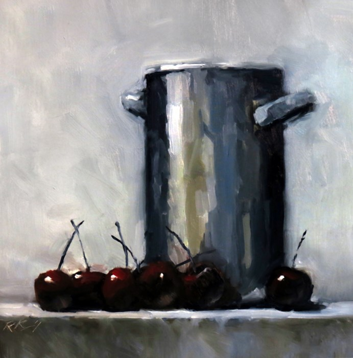 """A Tall Pot and Cherries"" original fine art by Bob Kimball"