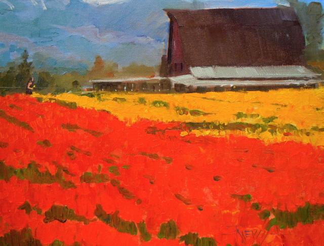 """""""Flower Barn  Skagit Co. tulip festival, oil landscape painting"""" original fine art by Robin Weiss"""