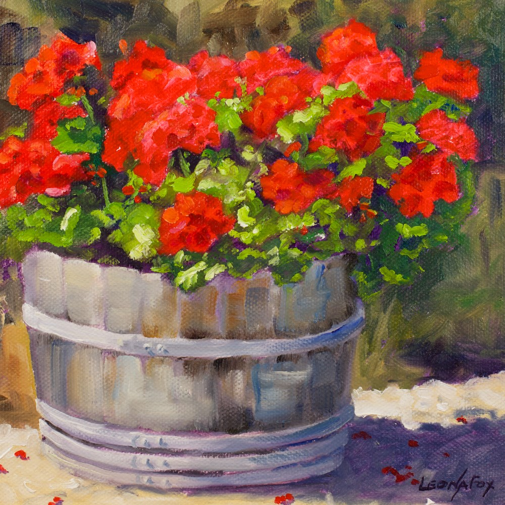 """A Barrel of Geraniums"" original fine art by Leona Fox"