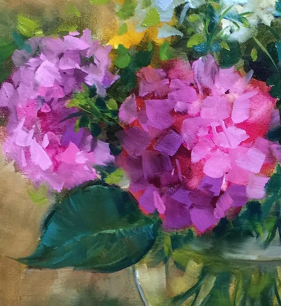 """Slice of Pink Hydrangeas"" original fine art by Nancy Medina"