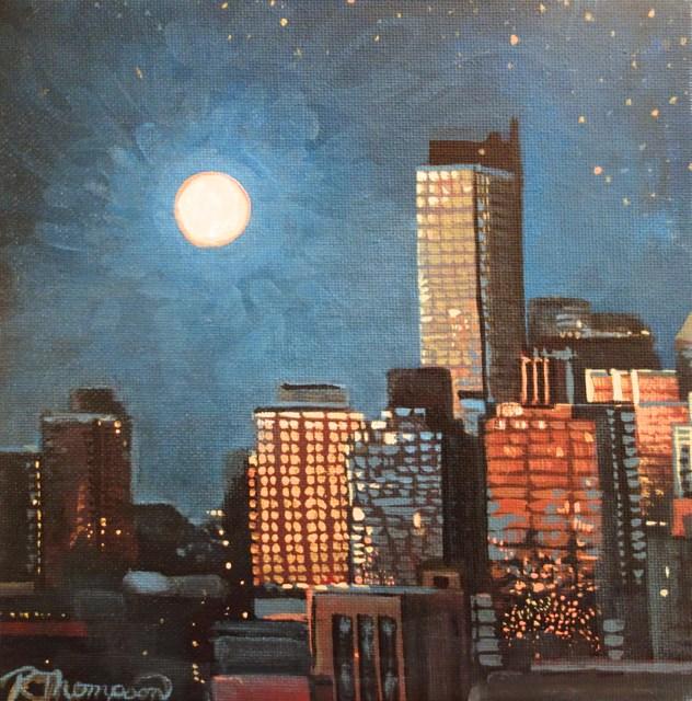 """Building Lights"" original fine art by Rachel Thompson"