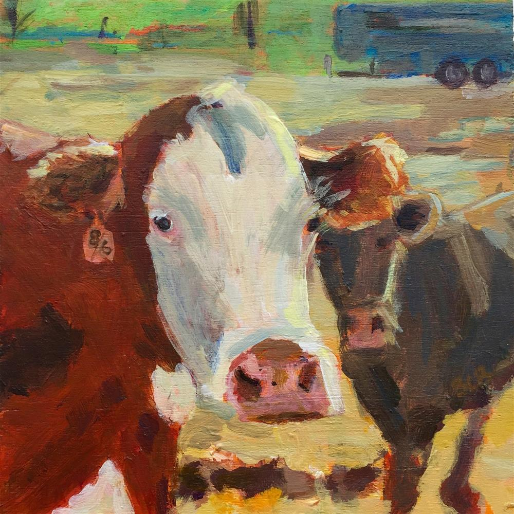 """Cow Challenge-The King's cows are chasing me!"" original fine art by Beth Carrington Brown"