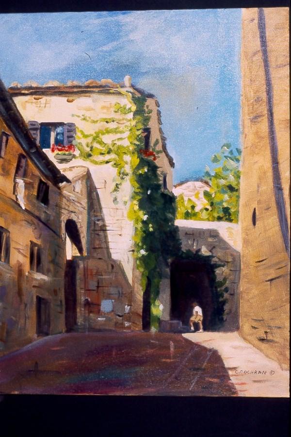 """San Gemingano Tourist"" original fine art by Carol Cochran"