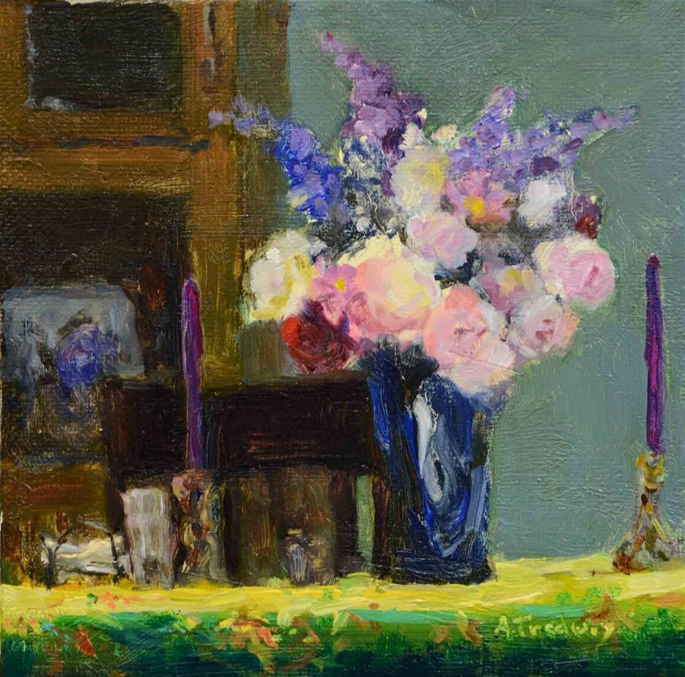 """Formal Table with Bouquet"" original fine art by alicia tredway"