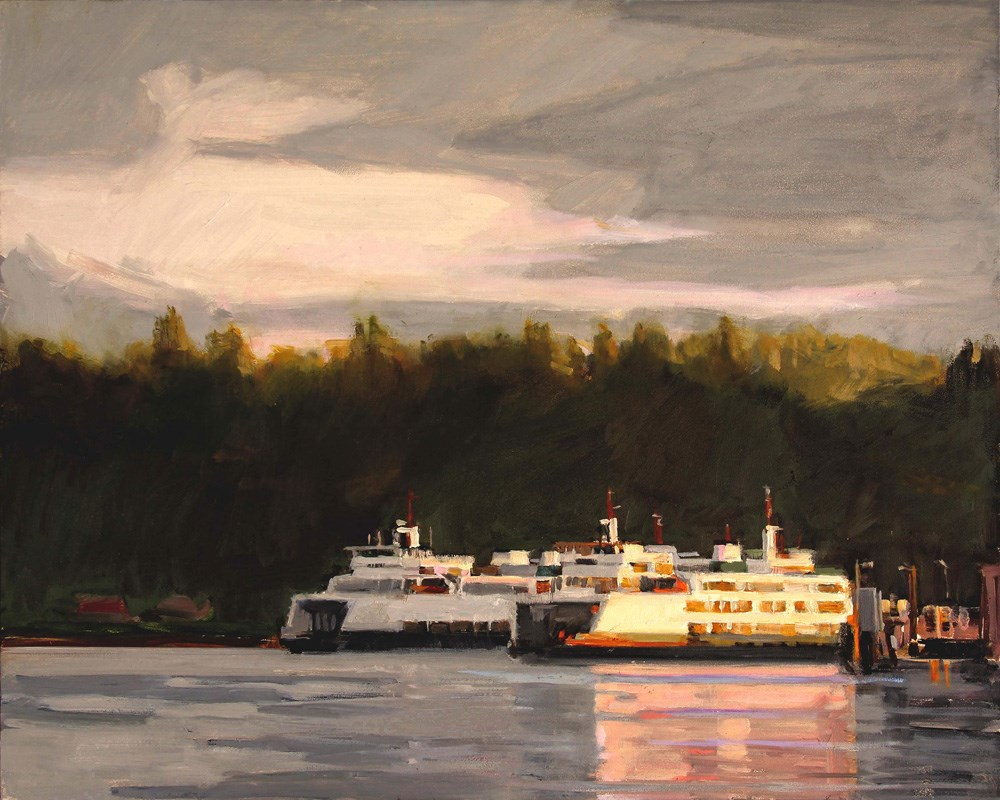"""Two Ferries at Sunset"" original fine art by Gretchen Hancock"