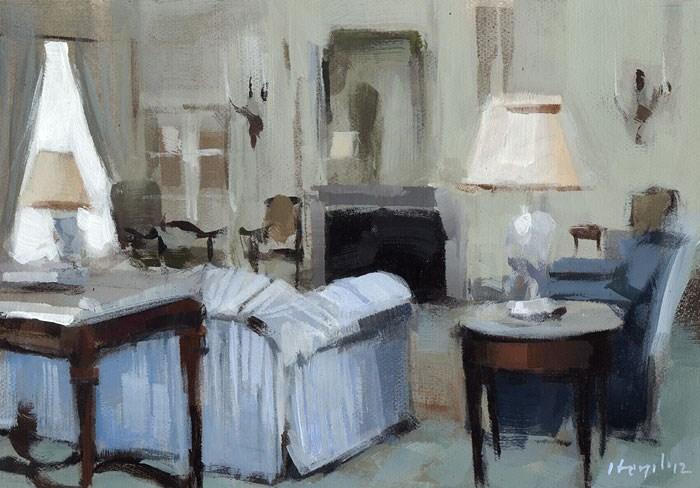"""Blue Striped Sofa - Quick Study"" original fine art by David Lloyd"