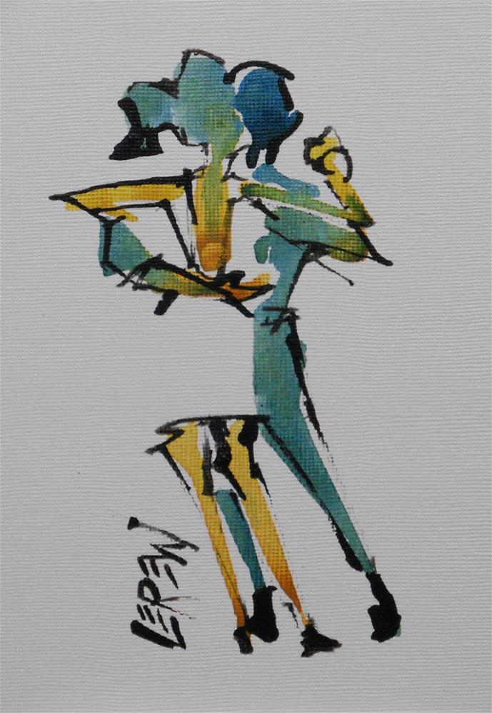 """Serendipity Blot Figure Sketch #13-08-08"" original fine art by Larry Lerew"