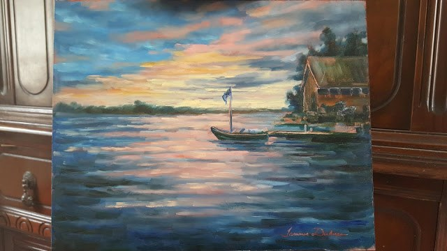 """Sunset over Kangaroo Lake"" original fine art by Tammie Dickerson"
