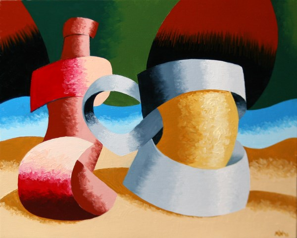 """Mark Webster - Abstract Geometric Beer Mug and Bottle Oil Painting"" original fine art by Mark Webster"