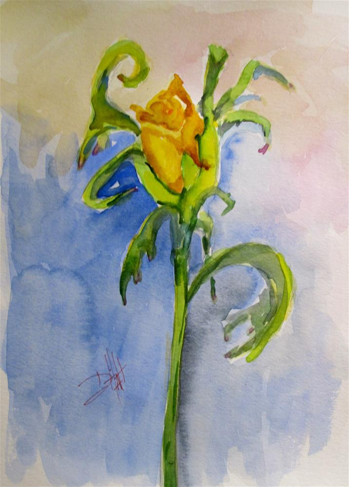 """Yellow Rose Bud"" original fine art by Delilah Smith"