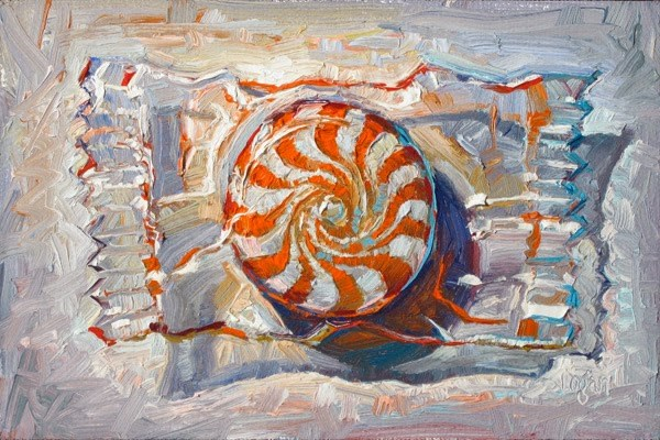 """Orange Spiral Candy"" original fine art by Raymond Logan"