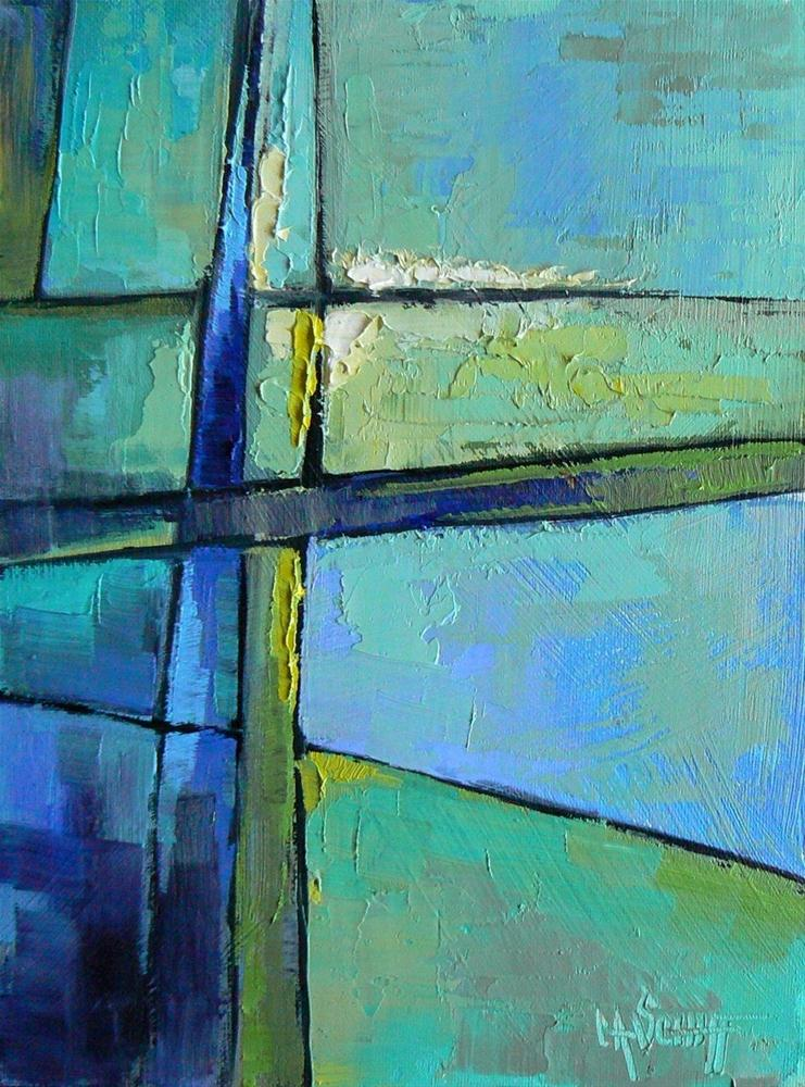 """Abstract, Original Oil, Non-representational Blue and Green 6x8"" original fine art by Carol Schiff"