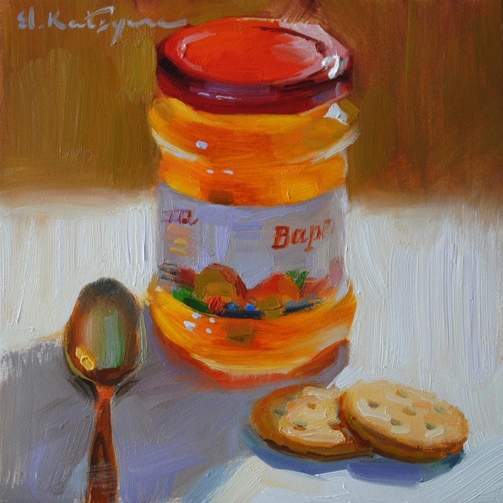 """Peachy Snack"" original fine art by Elena Katsyura"