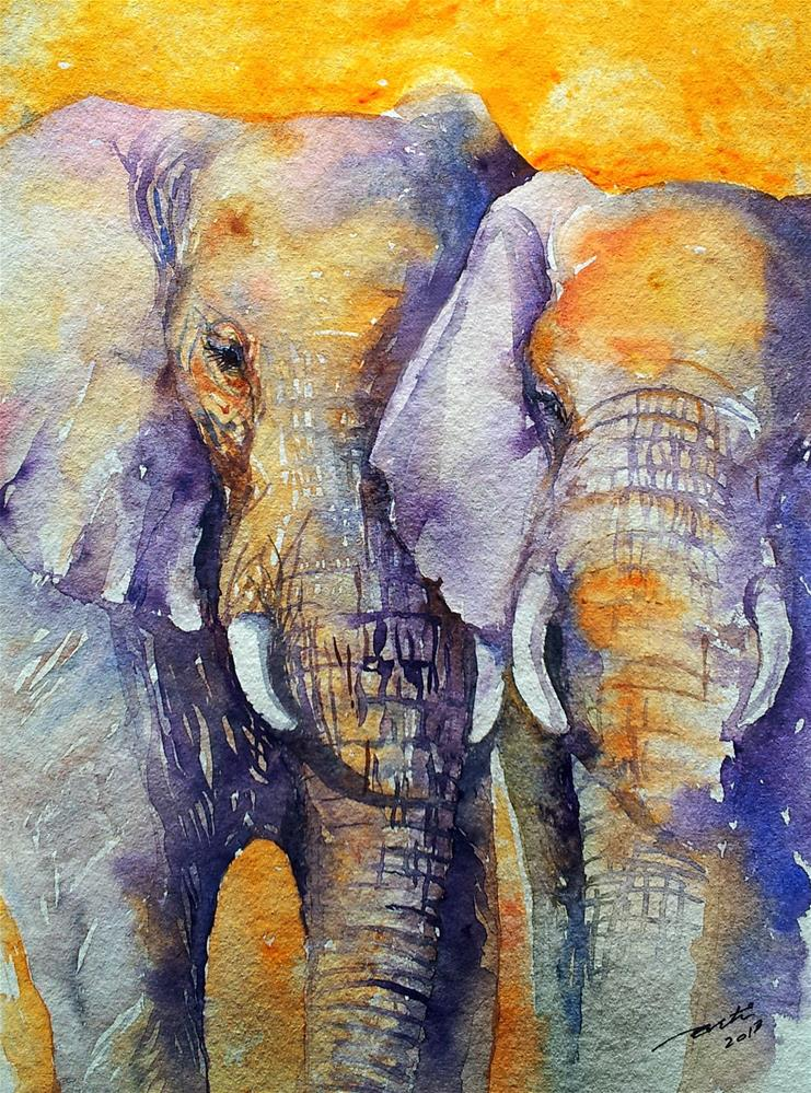 """Amber Skies Elephant Couple"" original fine art by Arti Chauhan"