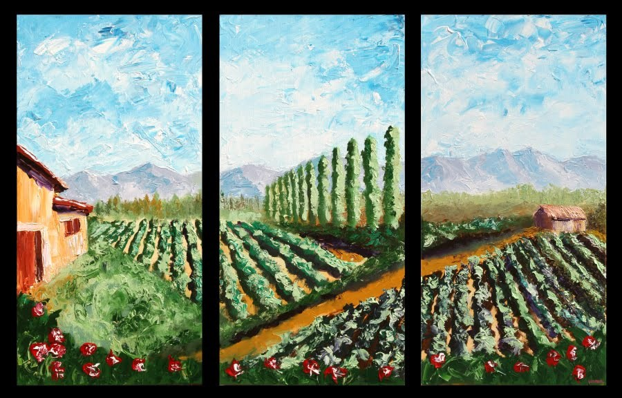 """Mark Webster - Vineyard Palette Knife Acrylic Painting Triptych"" original fine art by Mark Webster"