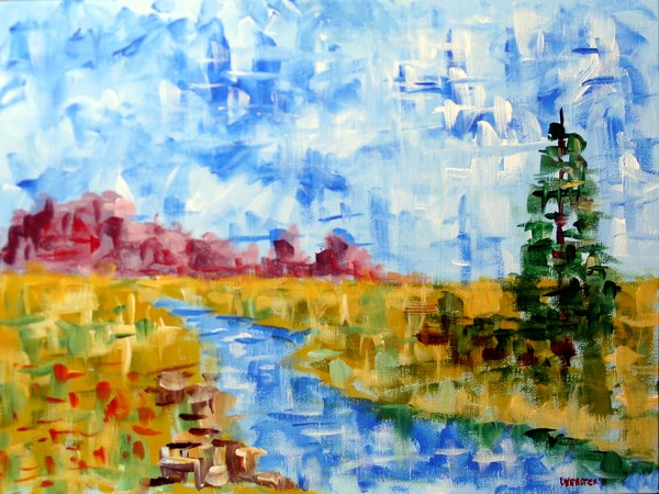 """Mark Webster Artist - Abstract Patchwork Landscape Acrylic Painting"" original fine art by Mark Webster"