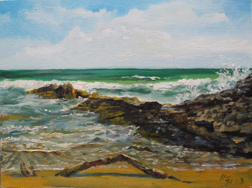 """Driftwood - plein air"" original fine art by Hannah C. Heyer"