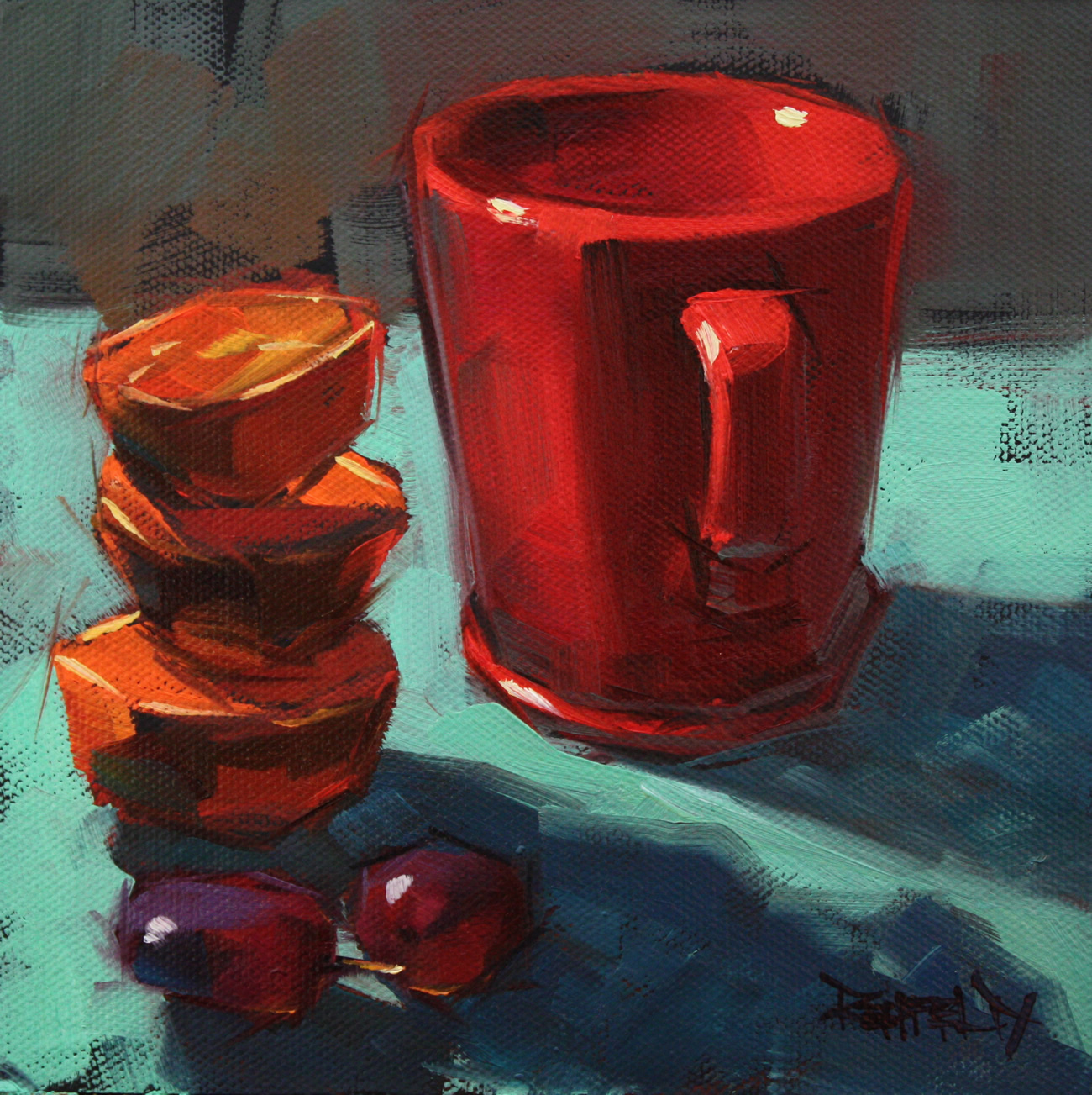"""Turquoise and Reds"" original fine art by Cathleen Rehfeld"