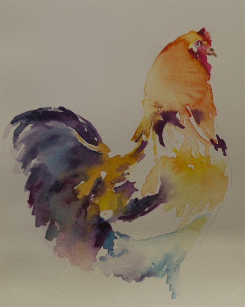 """Watercolor Chicken sketch"" original fine art by Sue Churchgrant"