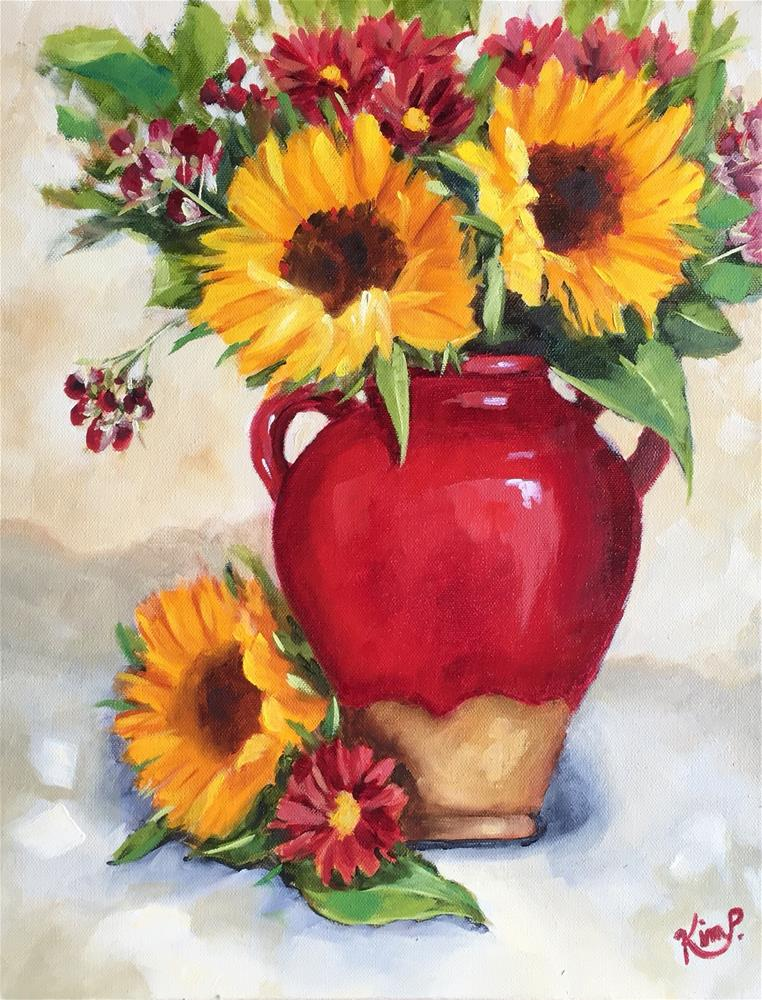 """Sunflowers in Red Tuscan Urn"" original fine art by Kim Peterson"