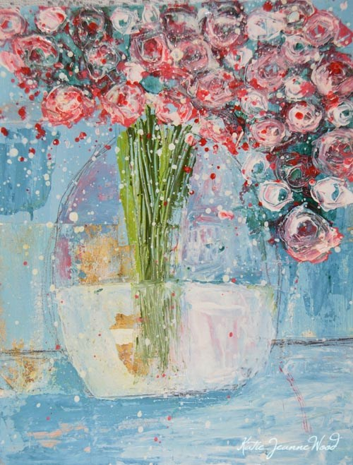 """Blue and Pink Cottage chic roses No 105"" original fine art by Katie Jeanne Wood"