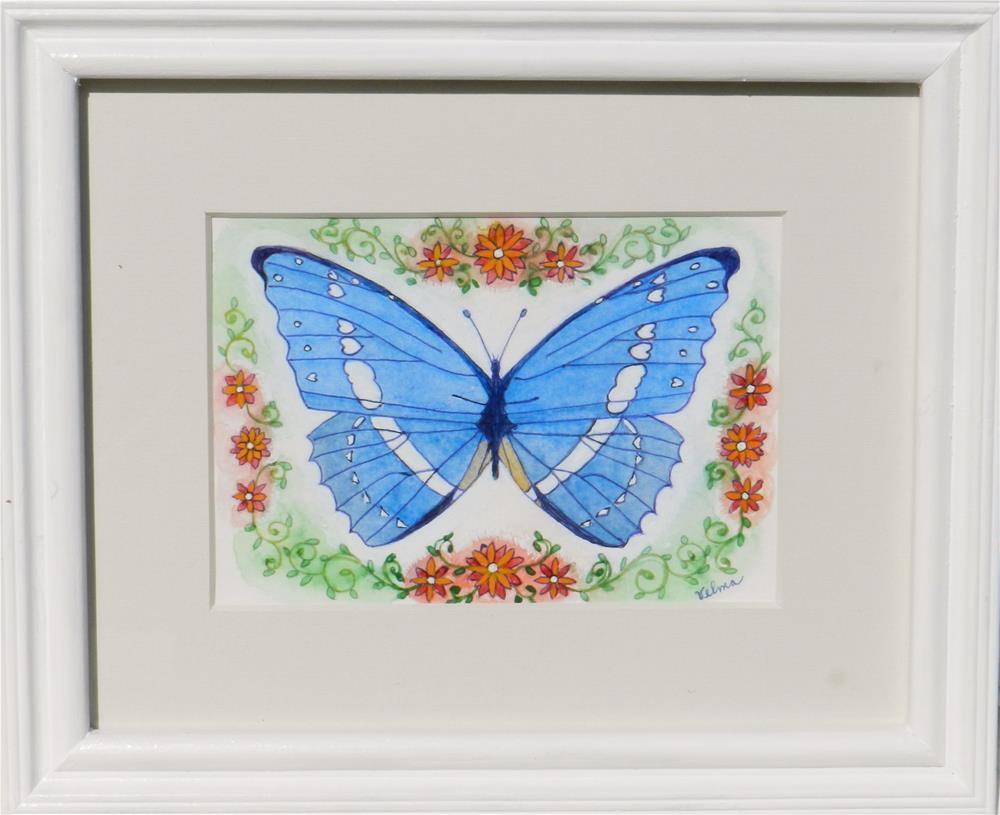 """Blue Butterfly"" original fine art by Velma Davies"