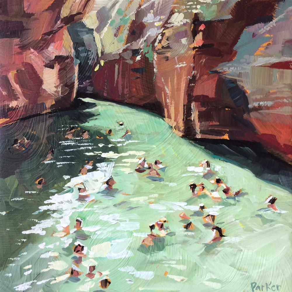 """Swimming Green"" original fine art by Teddi Parker"