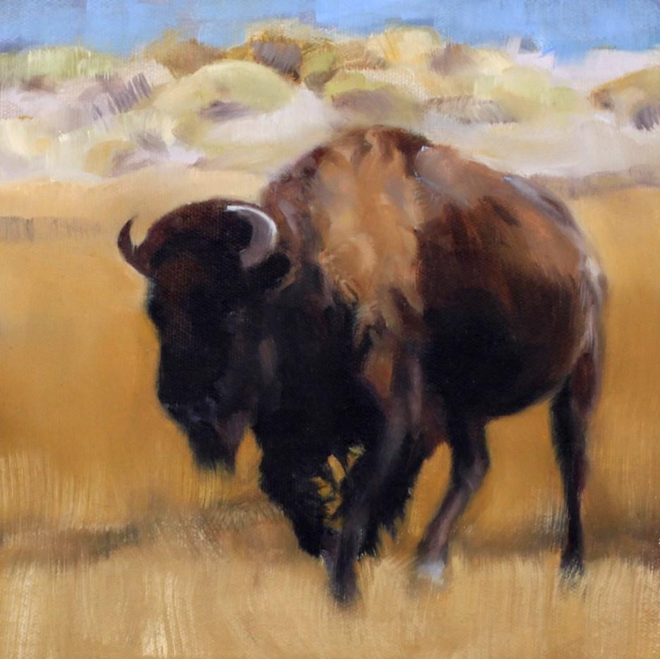 """Running Bison"" original fine art by Pamela Poll"