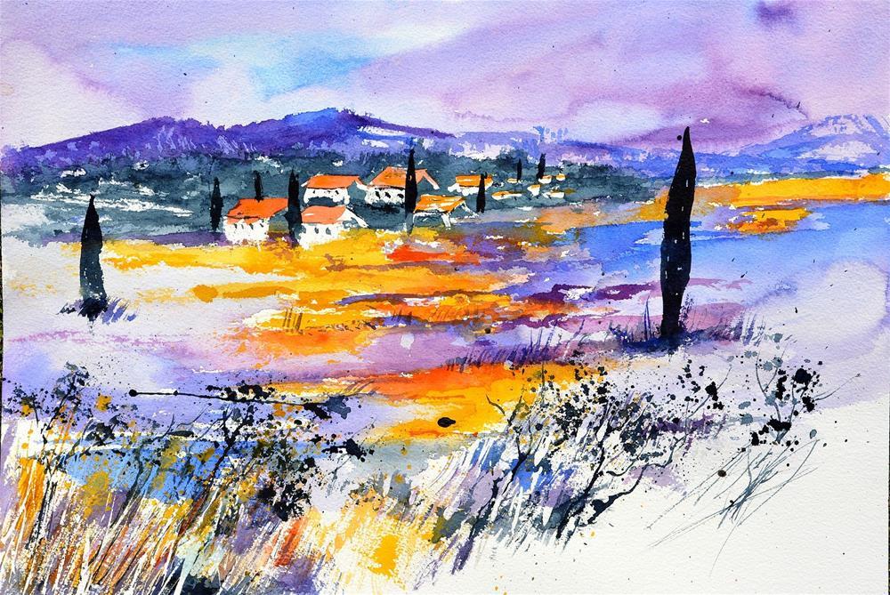 """""""watercolor provence 5190"""" original fine art by Pol Ledent"""