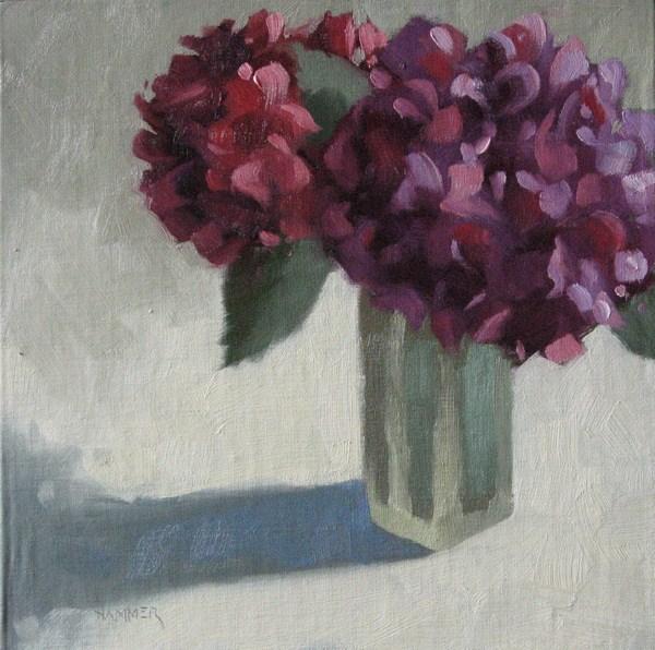 """Purple Hydrangea 8x8 oil"" original fine art by Claudia Hammer"