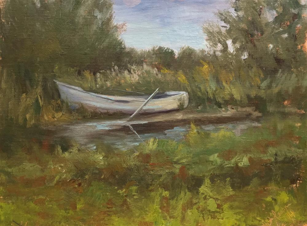 """""""Dory on the shore"""" original fine art by Judith Anderson"""