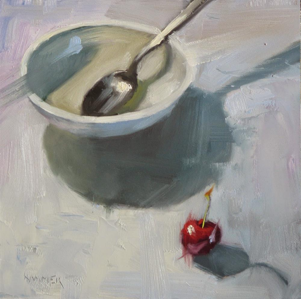 """One cherry, one bowl, one spoon  6in x 6in  oil painting"" original fine art by Claudia Hammer"