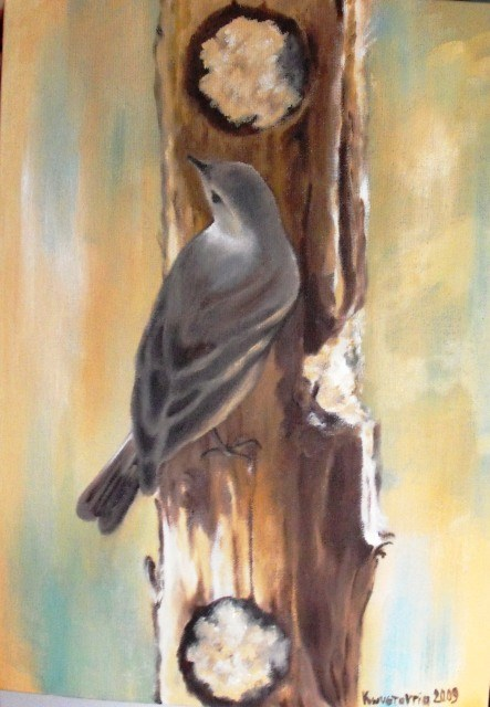 """Bird on tree"" original fine art by Konstantia Karletsa"