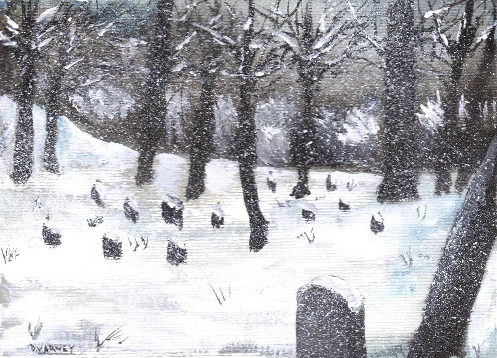 """""""Snowy Cemetery II"""" original fine art by Daniel Varney"""