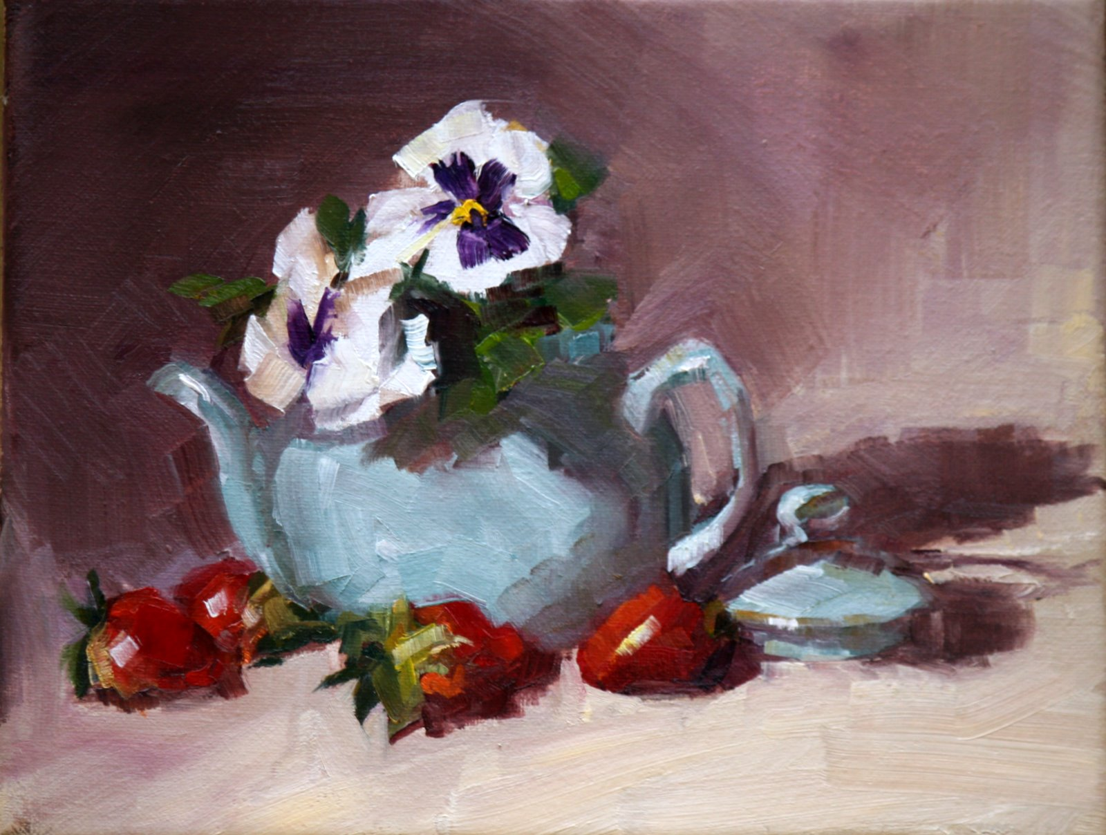 """Blue teapot and strawberries"" original fine art by Carol Carmichael"