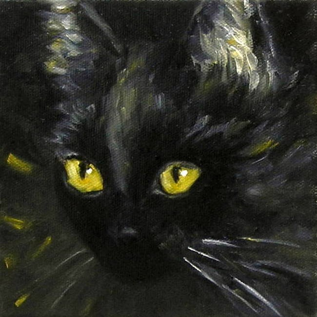 """Looking for a black cat in a dark room?"" original fine art by Irina Beskina"
