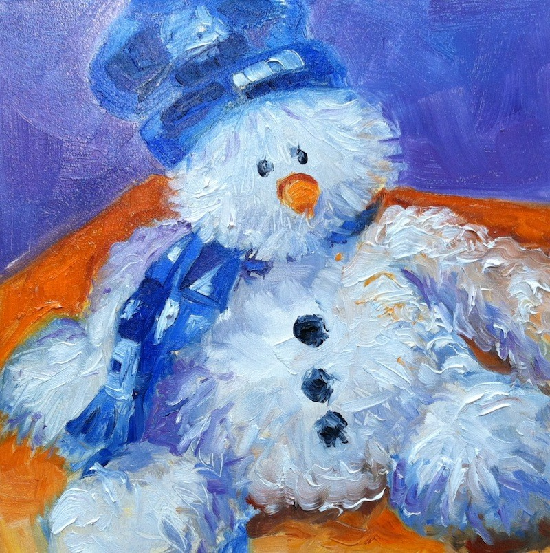 """Sad Snowman"" original fine art by Lynne Schulte"