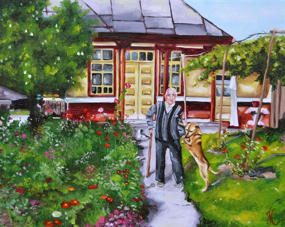 """Grand-father and his dog"" original fine art by Jacinthe Rivard"