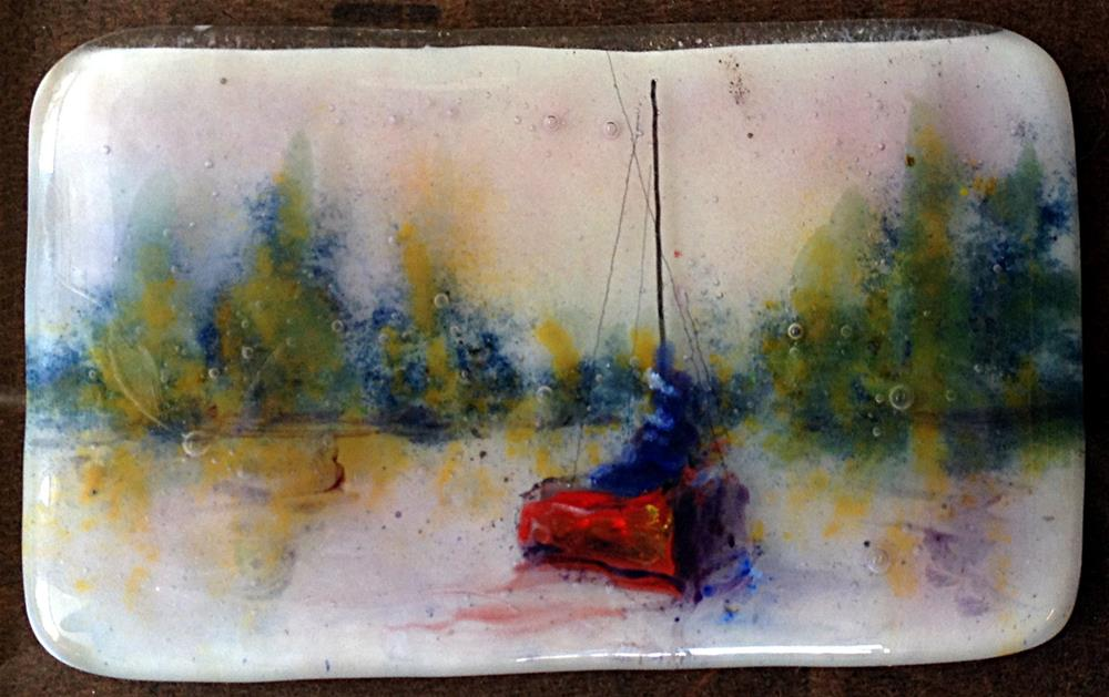 """Red Solo Boat"" original fine art by Kristen Dukat"