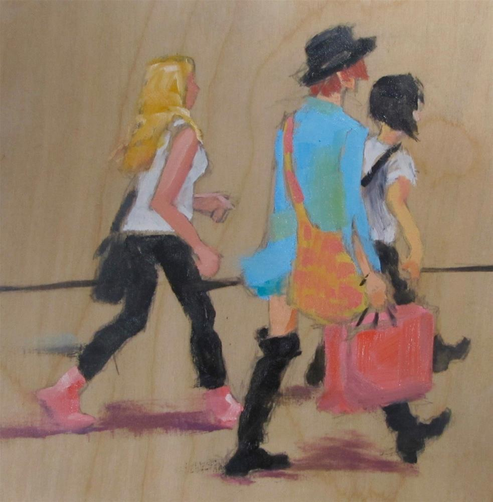 """Shoppers On the Go"" original fine art by Christine Holzschuh"