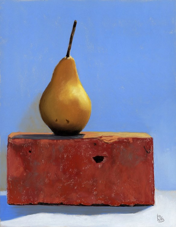 """Yellow Pear and a Brick"" original fine art by Ria Hills"